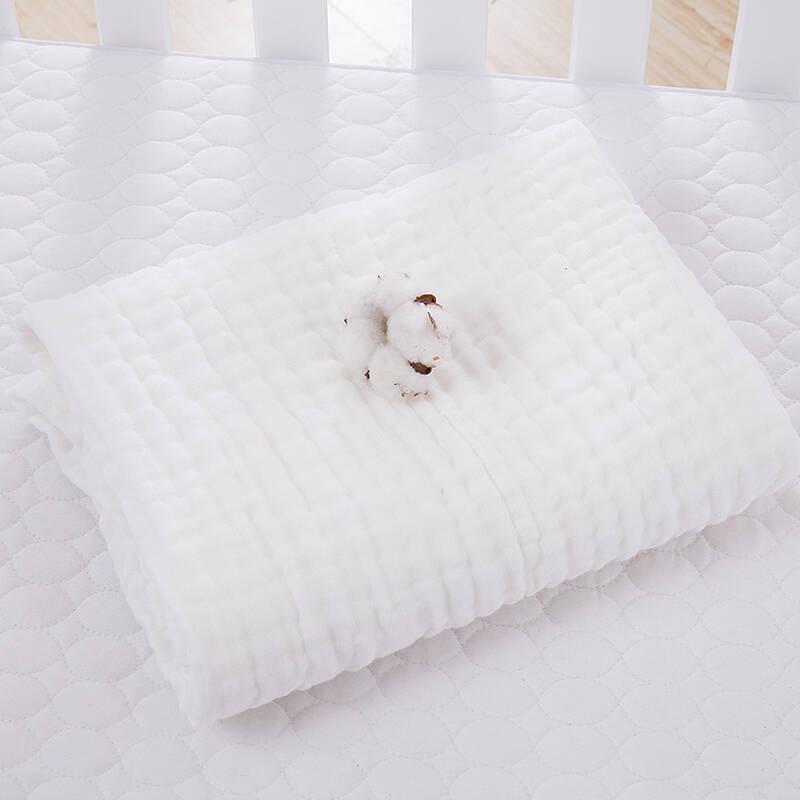 袁素婴儿纱布浴巾新生儿童加厚大毛巾被宝宝洗澡巾柔软吸水 白色105X105